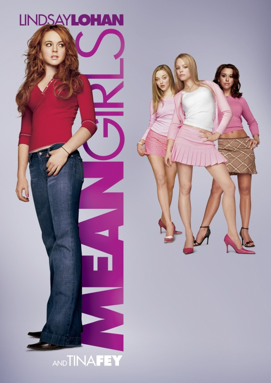 Poster for the movie 'Mean Girls.' The poster features Lindsay Lohan on the left side looking over her shoulder at the movie's three titular 'Mean Girls' on the right.