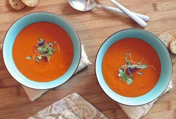 Stock photo of two bowls of tomato soup with herbs on top