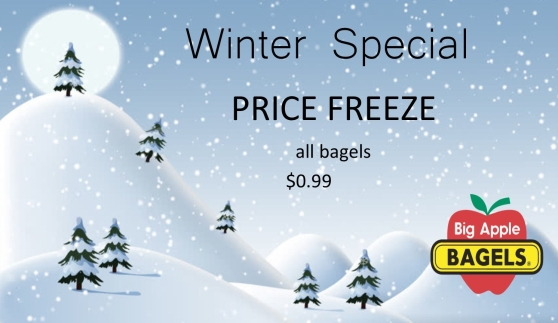 "Advertisement for the Quiet Café. Graphic of a snowy winter scene with text overlaid. The text reads: ""Winter Special. Price freeze. All bagels $0.99."" At the bottom right, there is a logo for Big Apple Bagels."