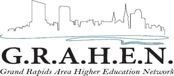 "Logo for GRAHEN. The logo features a black outline of the skyline underscored by a wavy blue water line. The text reads: ""G.R.A.H.E.N. Grand Rapids Area Higher Education Network."""