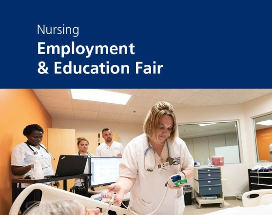 "Digital poster advertising the Nursing Employment & Education Fair at GRCC. There is a photo of a nursing student checking a patient's vitals while another monitors on the computer and two others observe. The text at the top reads: ""Nursing Employment & Education Fair."""