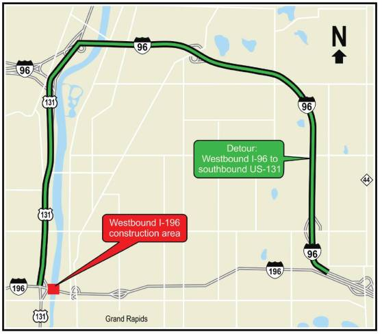 A map showing the detour for I-196 construction. The map directs westbound drivers to plan to take the I-96 intersection (just west of the East Beltline) and to stay on I-96 W until reaching 131-South, which should be taken until it reconnects with I-196 just after that highway crosses the Grand River.
