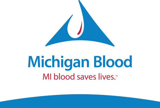 "Logo for Michigan Blood. Logo is bright blue and red, with a stylized drop of blood on the top of the logo. The text reads: ""Michigan Blood. MI blood saves lives."""