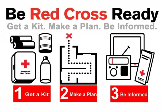 "A graphic for the Be Red Cross Ready course. There are three illustrations, one of an emergency kit showing batteries, an aluminum can, first aid supplies, and water water; a floorplan with a path leading through it; and a screen, radio, and Red Cross pamphlet. The text reads: ""Be Red Cross Ready. Get a Kit. Make a Plan. Be Informed. 1 Get a Kit. 2 Make a Plan. 3 Be Informed."""