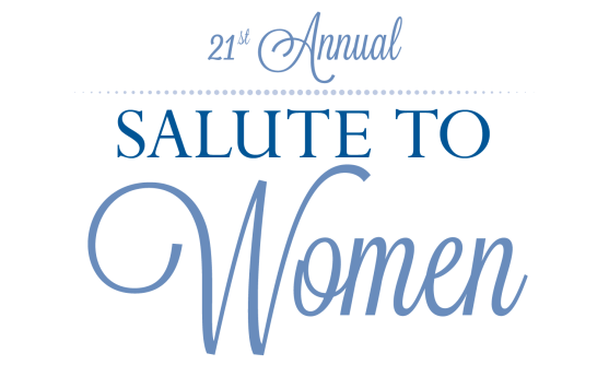 "Calligraphic fonts in shades of blue read: ""21st Annual Salute To Women."""
