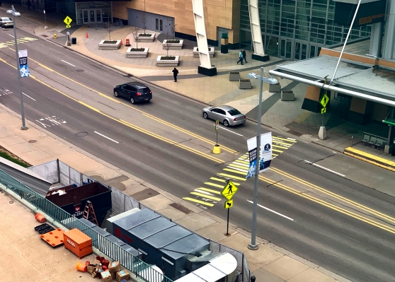 Photo of Monroe Ave. NW outside of DeVos Place, where lanes will be closed beginning April 22.