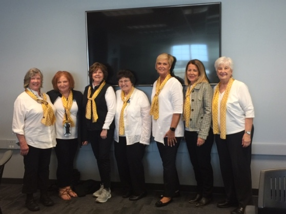 GRCC Retirees Karen Holt, Penni Weninger, Ann Sandberg, Julie Johnson, Deb Nordman, Fiona Hert, and Alice Donahue at Commencement 2019.