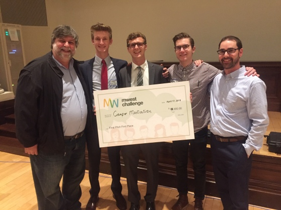 Felix Pierero (GRCC), Aiden Wysocki (Kendall), Jake Dabkowski (GRCC), Matthew Veenhoven (Kendall), and Jonathan Moroney (professor from Kendall) posing with the 'Camper Medication' MWest Challenge victory check.