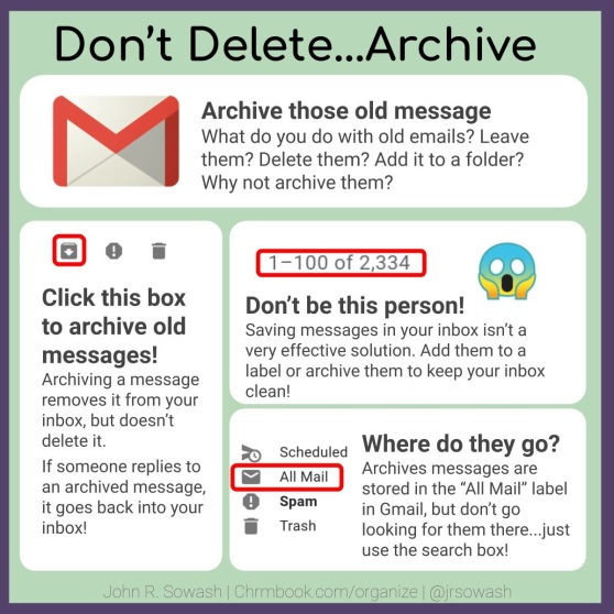 "Don't Delete … Archive Archive those old messages. What do you do with old emails? Leave them? Delete them? Add it to a folder? Why not archive them? Click this box (the archive icon of a folder with an arrow is circled) to archive old messages! Archiving a message removes it from your inbox, but doesn't delete it. If someone replies to an archived message, it goes back into your inbox! 1-100 or 2,334 Don't be this person! Saving messages in your inbox isn't a very effective solution. Add them to a label or archive them to keep your inbox clean. Where do they go? Archived messages are stored in the ""All Mail"" label in Gmail, but don't go looking for them there … just use the search box."