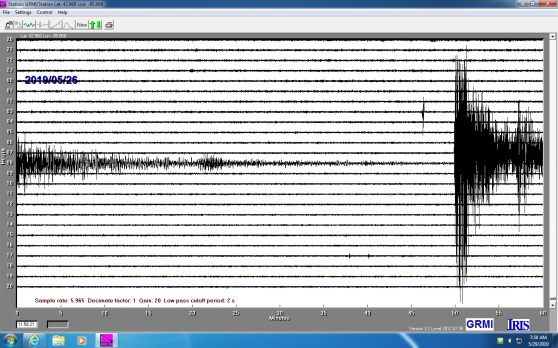 A readout from GRCC's seismometer shows the Peru earthquake.