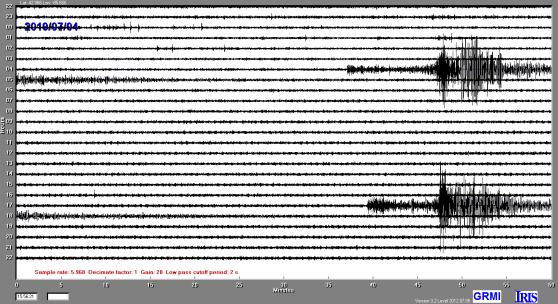 A seismometer readout of the Canada and California earthquakes