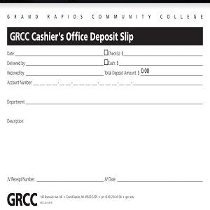 A GRCC Cashier's Office deposit slip