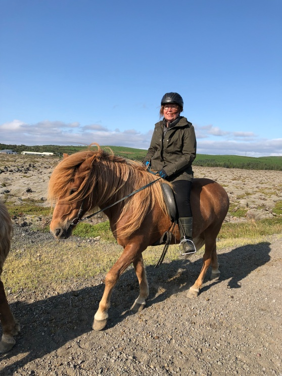 Mary Johnson rides a horse on a windy day in Iceland.
