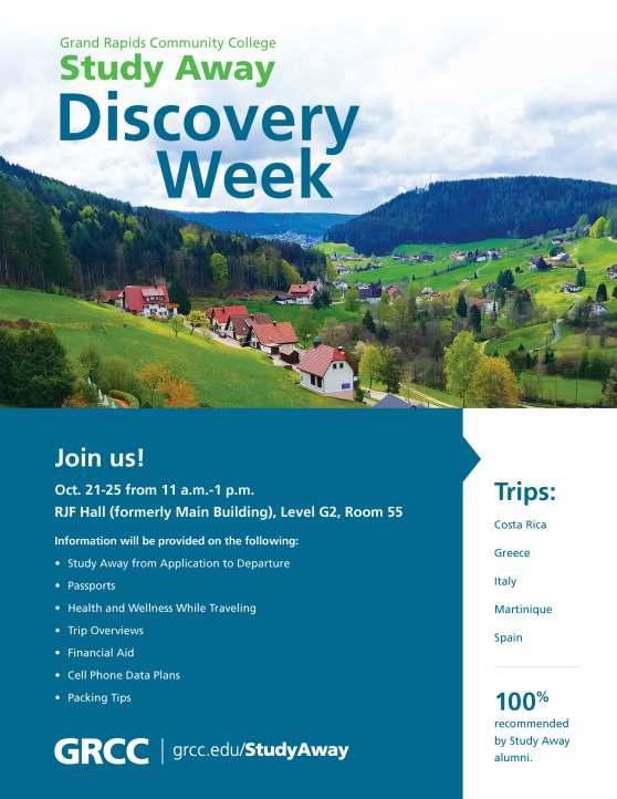 Study away flyer displaying general information