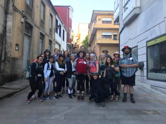 GRCC students stand on a street in Salamanca, Spain.