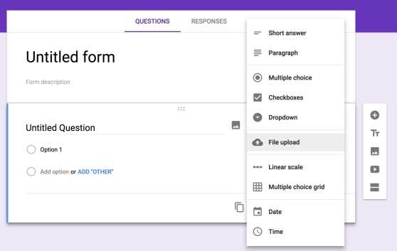 The Google Forms webage: