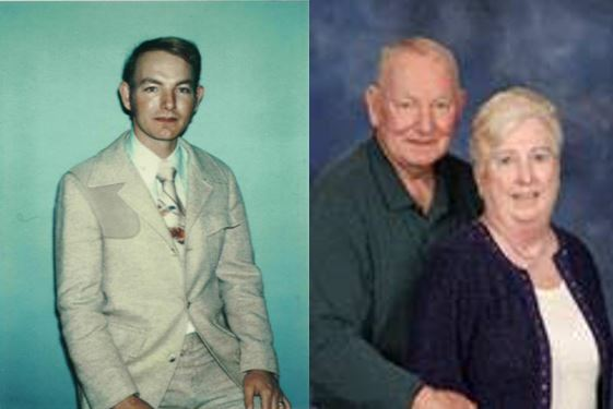 Mike in 1980, and a recent portrait of him with Marianne, his wife of 40 years.