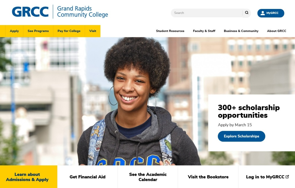 View of GRCCs main webpage (grcc.edu).