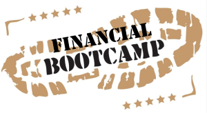 Financial Aid Bootcamp over a picture of boot treadmarks.