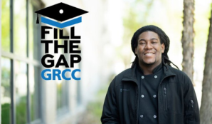 Picture of smiling student with the logo: Fill the Gap GRCC.