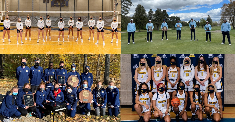 Women's volleyball and basketball teams, and Men's golf and track teams.
