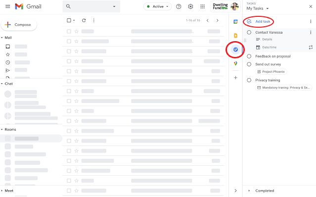 """A checkmark icon and the """"add task"""" bar at the right are circled in a picture of an open GMail account."""