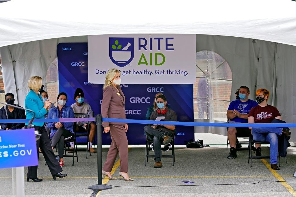First Lady Jill Biden at pop-up clinic.