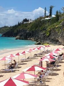 People on a Bermuda  beach.