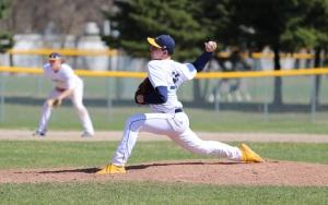 Baseball player Logan Campbell throwing a ball.