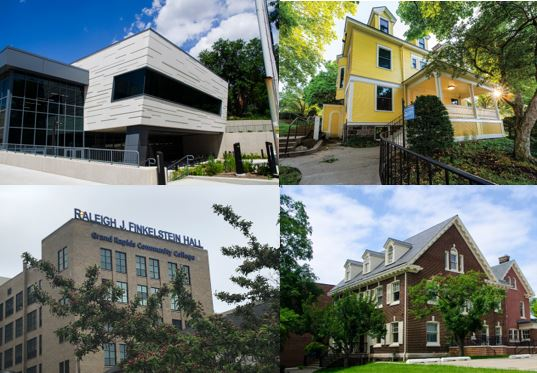 Pictures of the outside of 4 buildings: Raleigh J. Finkelstein Hall, Steven C. Ender Hall and the Custer Alumni House in addition to a new wing to the Wisner-Bottrall Applied Technology Center.
