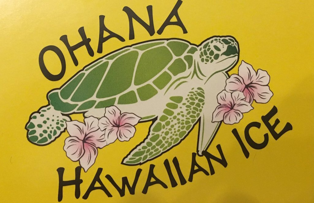 Ohana Hawaiian Shaved Icelogo with a picture of a turtle and flowers.