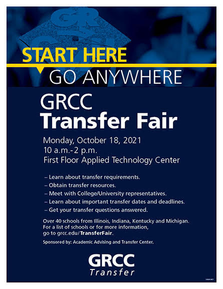 GRCC Transfer Fair Monday, Oct. 18, 2021 from10 a.m.-2 p.m. First Floor Applied Technology Center •Learn about transfer requirements. •Obtain transfer resources. •Meet with college/university representatives. •Learn about important transfer dates and deadlines. •Get your transfer questions answered.  Over 40 schools from Illinois, Indiana, Kentucky and Michigan. For a list of schools or for more information, go to grcc.edu/TransferFair. Sponsored by Academic Advising and Transfer Center.